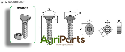 Cultivator bolt - M10x40 - 8.8