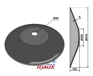 Plain disc O610x6 - Truncated