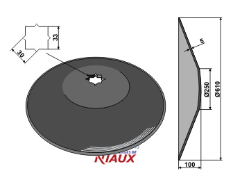 Plain disc O610x5 - Truncated