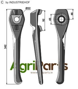 Tine for rotary harrows, left model