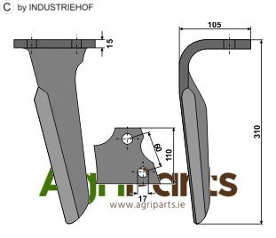 Tine for rotary harrows, right model